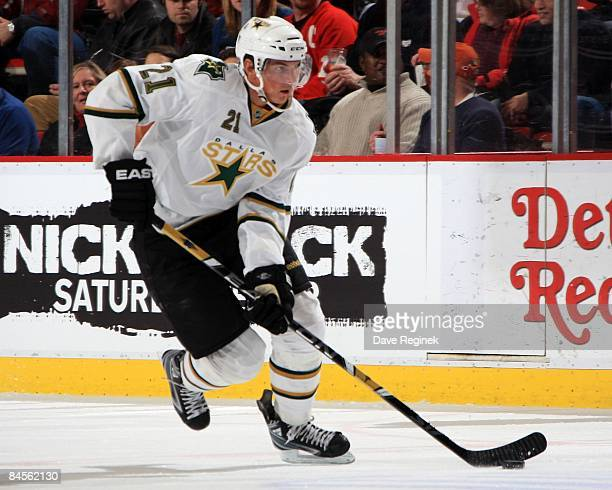 Loui Eriksson of the Dallas Stars skates up ice with the puck during a NHL game against the Detroit Red Wings on January 29 2009 at Joe Louis Arena...