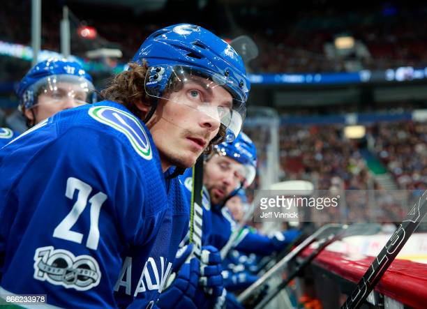 Loui Eriksson of the Vancouver Canucks looks on from the bench during their NHL game against the Winnipeg Jets at Rogers Arena October 12 2017 in...
