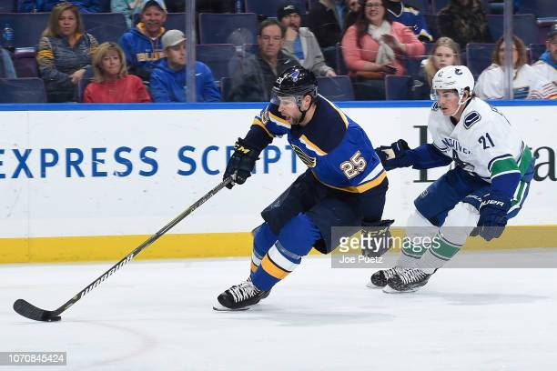 Loui Eriksson of the Vancouver Canucks pressures Chris Butler of the St Louis Blues at Enterprise Center on December 9 2018 in St Louis Missouri