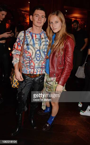 Louie Banks and Olympia Campbell attend the Chaos SixtyNine Issue 2 launch party hosted by Charlotte Stockdale and Katie Lyall in The Baptist Bar at...