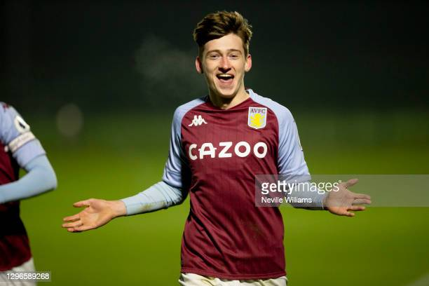 Louie Barry of Aston Villa celebrates after scoring during the Premier League 2 between Aston Villa and West Bromwich Albion at Bodymoor Heath...