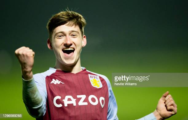 Louie Barry of Aston Villa scores for Aston Villa during the Premier League 2 between Aston Villa and West Bromwich Albion at Bodymoor Heath training...