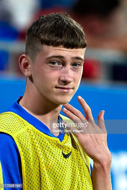 Louie Barry of FC Barcelona U19 looks on during the Friendly match between FC Barcelona U19 and Ajax U19 at Estadi Johan Cruyff on August 27 2019 in...