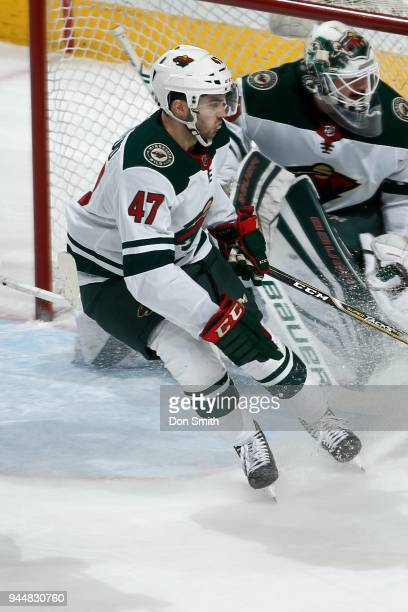 Louie Belpedio of the Minnesota Wild looks on during a NHL game against the San Jose Sharks at SAP Center on April 7 2018 in San Jose California...