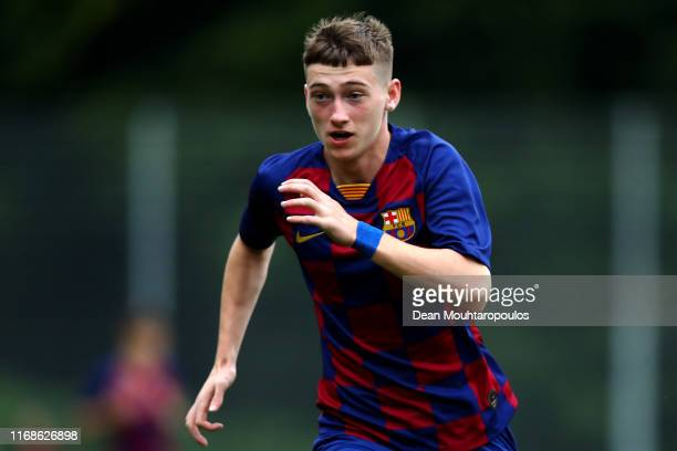 Louie Mark Barry of FC Barcelona in action during The Otten Cup match between PSV Eindhoven and FC Barcelona held at De Herdgang the training ground...