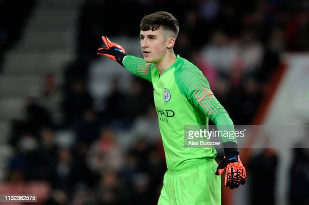 Louie Moulden of Manchester City gives his team instructions during the FA Youth Cup Sixth Round Match between AFC Bournemouth U18 and Manchester...