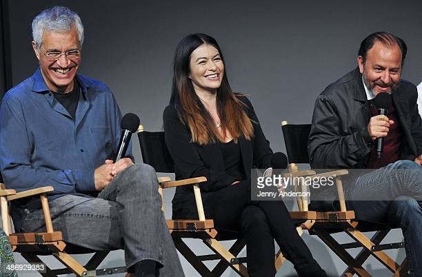 Louie Psihoyos Leilani Munter and Fisher Stevens discuss the environmental documentary 6 at the Apple Store Soho on April 26 2014 in New York City