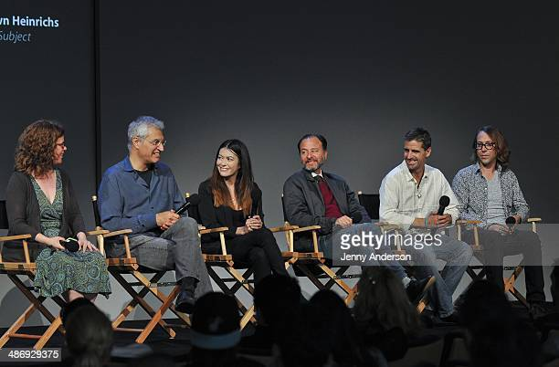 Louie Psihoyos Leilani Munter Fisher Stevens Shawn Heinrichs and Travis Threlkel discuss the environmental documentary 6 at the Apple Store Soho on...