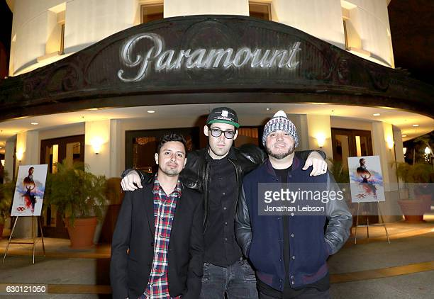 Louie Rubio Lex Larson and DJ Felli Fel of The Americanos attend the LA Screening of Paramount Pictures 'xXx RETURN OF XANDER OF CAGE' at the...