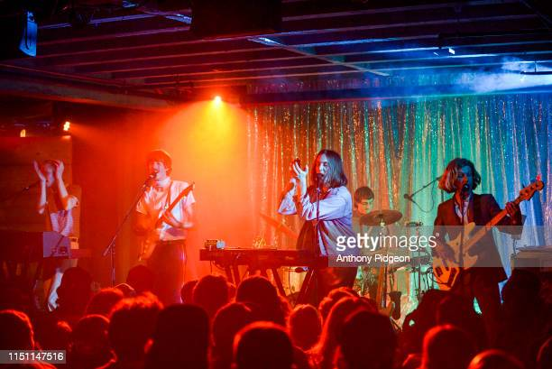 Louie Swain Jules Crommelin Patrick Hetherington Anatole Serret Noah Hill of Parcels perform on stage at Doug Fir Lounge in Portland Oregon USA on...