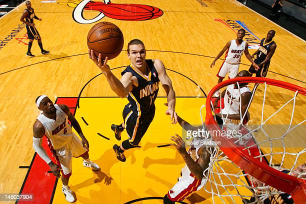 Louis Amundson of the Indiana Pacers goes to the basket against the Miami Heat in Game Five of the Eastern Conference Semifinals during the 2012 NBA...