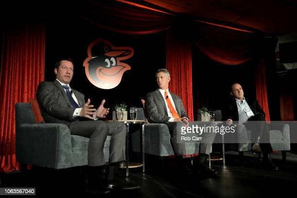 Louis Angelos and John Angelos of the Baltimore Orioles look on after introducing Mike Elias to the media as the Orioles Executive Vice President and...