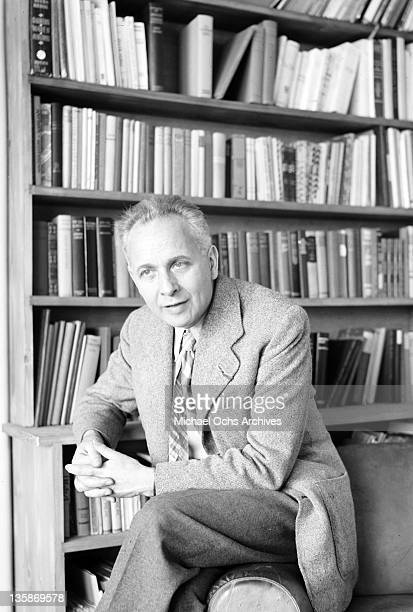 Louis Aragon, French writer and editor, in his office at the Paris newspaper 'Ce Soir', 1952.