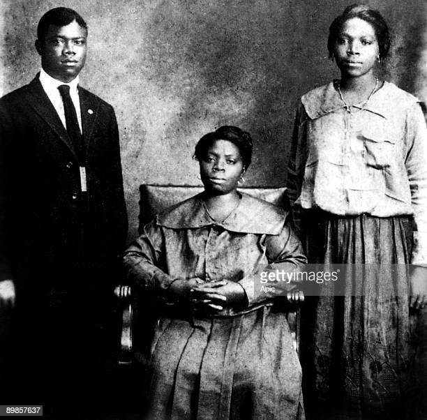 Louis Armstrong american jazzman trumpet player and singer with mother and sister Beatrice in New Orleans in 1921