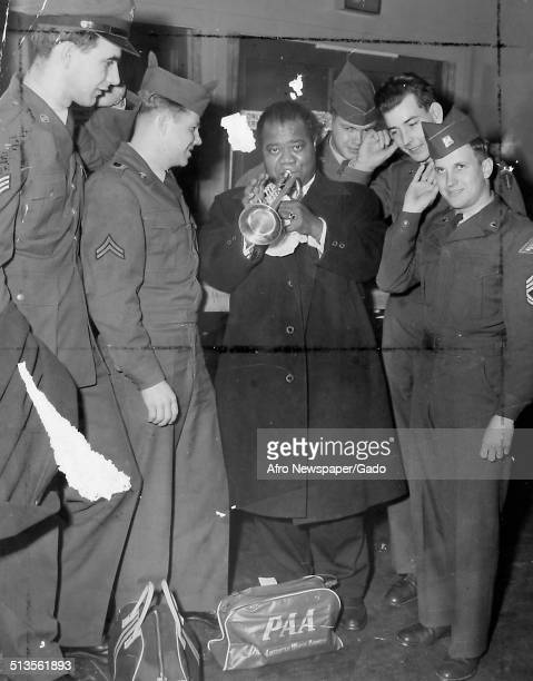 Louis Armstrong and American soldiers at World Airways Germany 1961