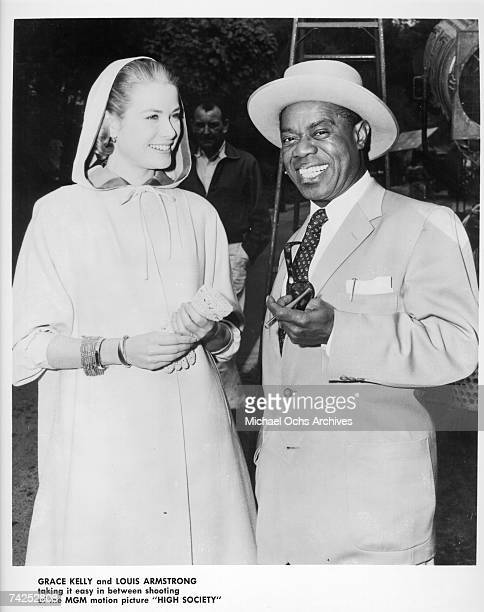 Louis Armstrong and Grace Kelly on the set of 'High Society'