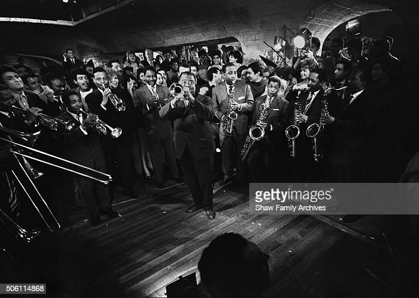 Louis Armstrong and his band in 1960 during the filming of Paris Blues in Paris France