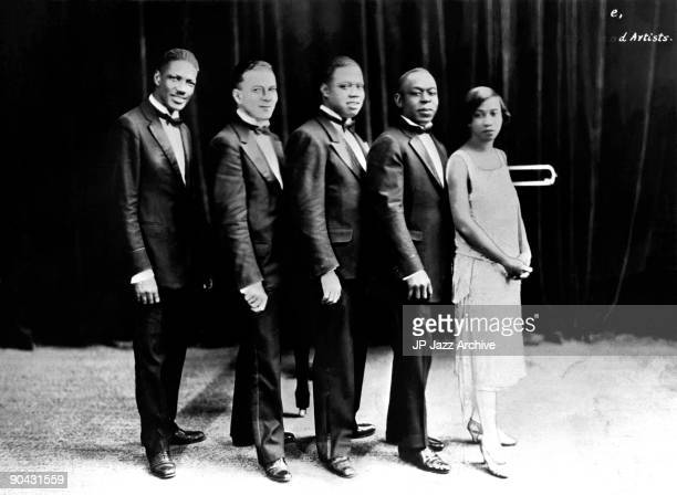 Louis Armstrong Hot Five pose for a studio group shot c 1926 with Johnny St Cyr, Kid Ory, Louis Armstrong, Johnny Dodds and Lil Harding Armstrong.