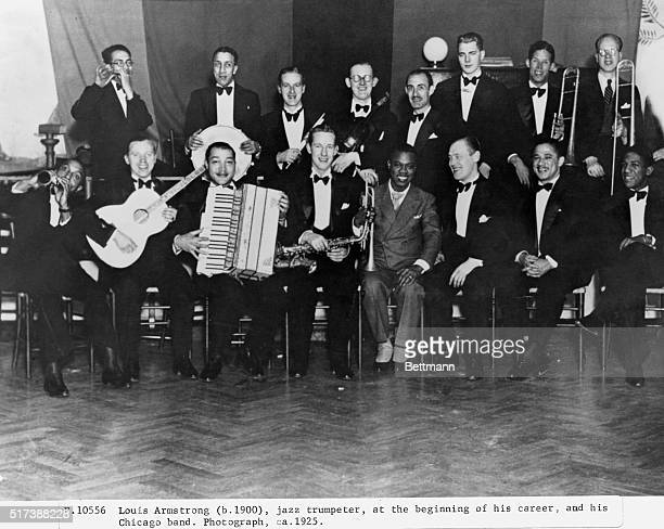 Louis Armstrong , jazz trumpeter, at the beginning of his career, and his Chicago band. Photograph, ca. 1925.