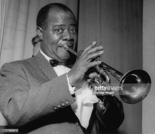 Louis Armstrong on stage on Day 2, Finsbury Park Astoria, London, 1962. Artist Brian Foskett.