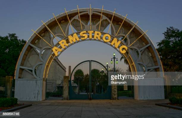 louis armstrong park in the french quarter of new orleans, louisiana - louis armstrong stock photos and pictures