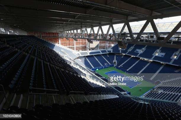 Louis Armstrong Stadium is seen prior to the start of the 2018 US Open at the USTA Billie Jean King National Tennis Center on August 26, 2018 in the...