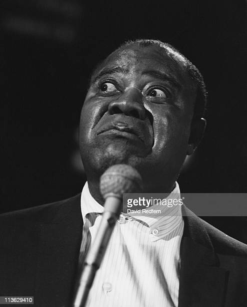 Louis Armstrong US jazz trumpeter and singer looking to the left of the image during a live performance at BBC Television Centre in London England...