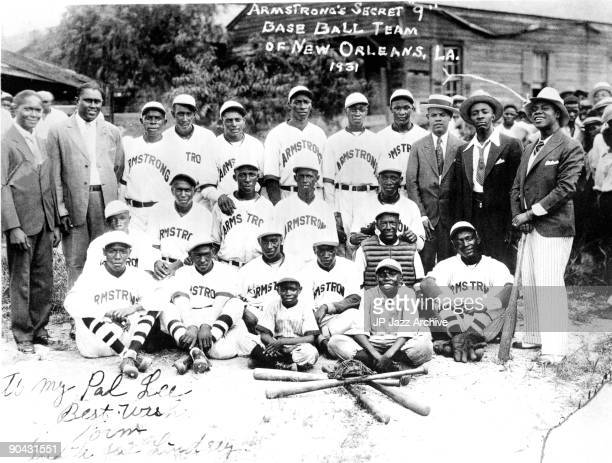 Louis Armstrong's Secret Baseball Team of New Orleans posed in New Orleans Lousianna in 1931 with Louis Armstrong on right