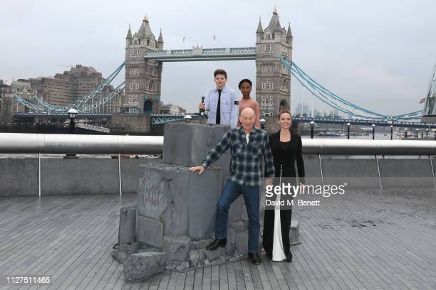 Louis Ashbourne Serkis Rhianna Dorris Sir Patrick Stewart and Rebecca Ferguson attend a photocall for 'The Kid Who Would Be King' at More London on...