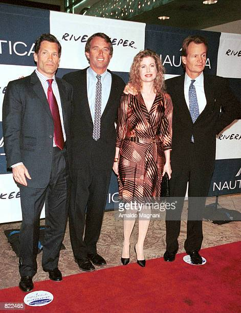 Louis Beacon from left Robert Kennedy Jr Diandra Douglas and Zack Bacon attend The NauticaRiverkeeper Challenge benefit April 4 2001 at Pier 60 in...