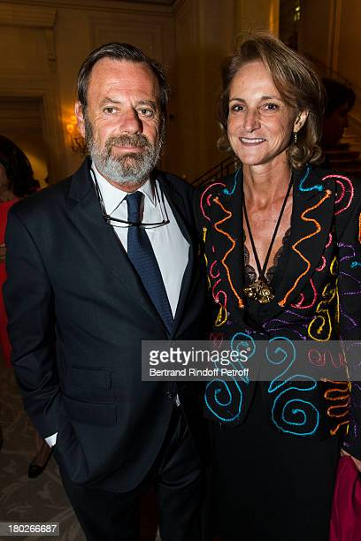 Louis Benech and Marie-Laure de Villepin attend a charity dinner hosted by the Claude Pompidou foundation at Four Seasons Hotel George V, on...