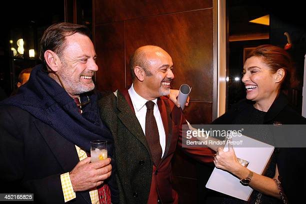 Louis Benech, Christian Louboutin and journalist Daphne Roulier attend Berluti Flagship Store Opening on November 26, 2013 in Paris, France.