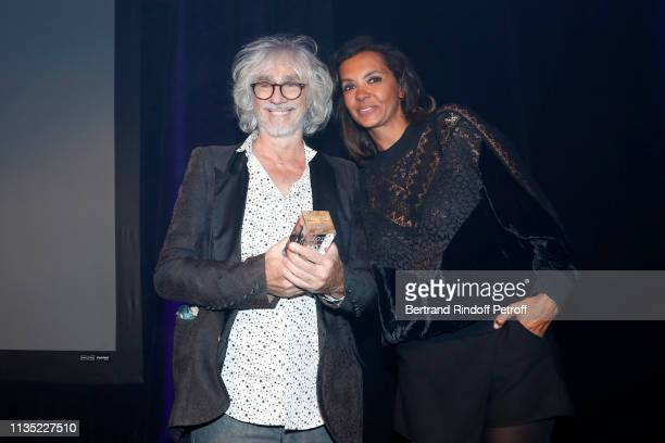 Louis Bertignac Gold Stethos category Musician and Karine Le Marchand attend the Stethos d'Or 2019 Charity Gala of the Foundation for Physiological...