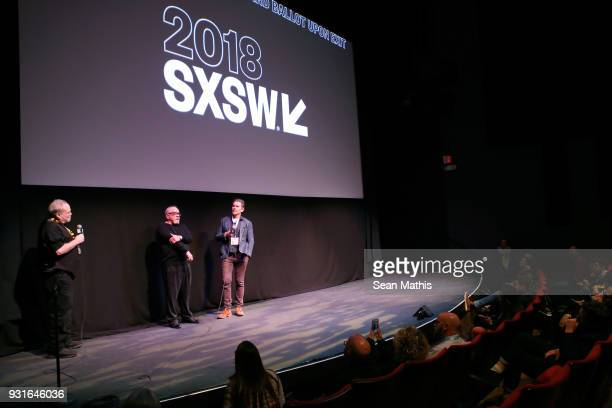 Louis Black Paul Schrader and Ethan Hawke speak onstage at the premiere of 'First Reformed' during SXSW at Elysium on March 13 2018 in Austin Texas