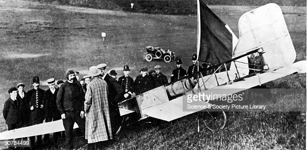Louis Bleriot at Dover on the Kent coast having just become the first man to fly across the English Channel in his Type XI 24 hp monoplane Bleriot...