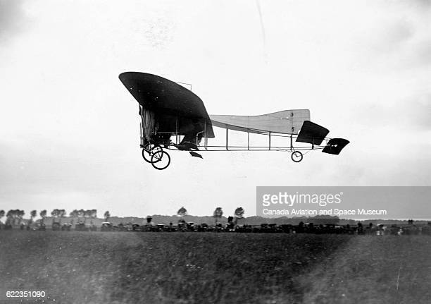 Louis Bleriot prepares to land a Bleriot XII monoplane during a competition in Douai at La Brayelle Airfield