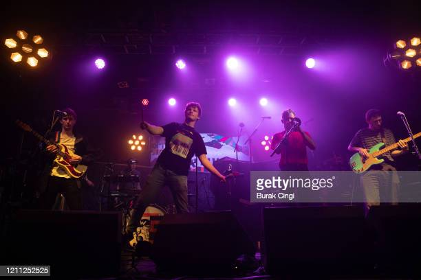 Louis Borlase, Ollie Judge, Laurie Nankivell and Anton Person of Squid perform at Electric Ballroom on day 3 of BBC 6 Music Festival on March 08,...