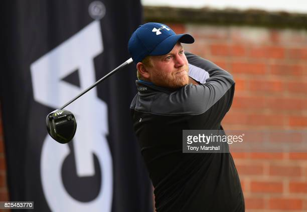 Louis Boston of Stockwood Vale Golf Club plays his first shot on the 1st tee during Day One of the Galvin Green PGA Assistants' Championship at...