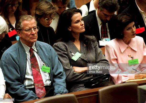 Louis Brown father of murder victim Nicole Brown Simpson and her sister Denise Brown sit with attorney Gloria Allred during a pretrial hearing in the...