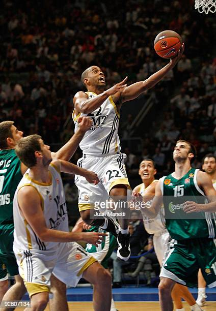 Louis Bullock, #22 of Real Madrid in action during the Euroleague Basketball Regular Season 2009-2010 Game Day 3 between Real Madrid and...