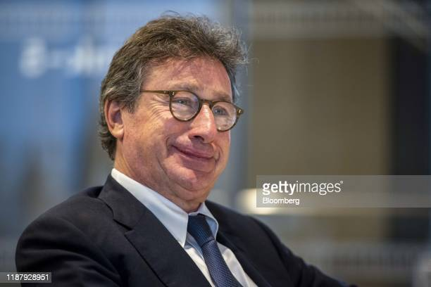 Louis Camilleri, chief executive officer of Ferrrari NV, pauses during an interview in London, U.K., on Friday, Sept. 27, 2019. The supercar...