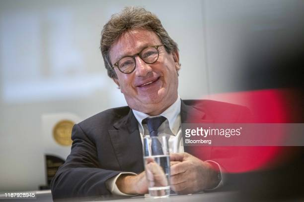 Louis Camilleri, chief executive officer of Ferrrari NV, reacts during an interview in London, U.K., on Friday, Sept. 27, 2019. The supercar...