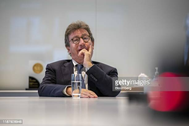 Louis Camilleri, chief executive officer of Ferrrari NV, speaks during an interview in London, U.K., on Friday, Sept. 27, 2019. The supercar...