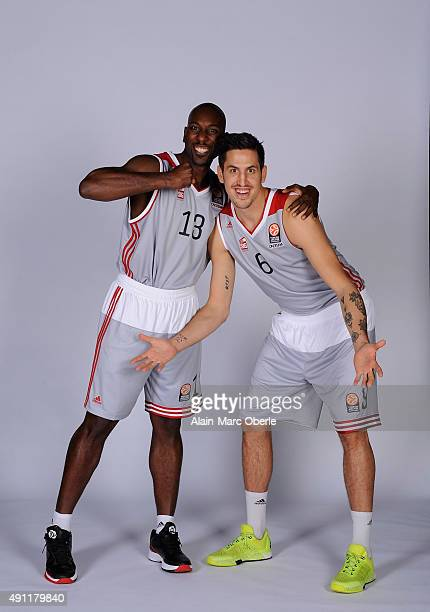 Louis Campbell, #13 of Strasbourg and Paul Lacombe, #6 poses during the 2015/2016 Turkish Airlines Euroleague Basketball Media Day at Rhenus Sport on...