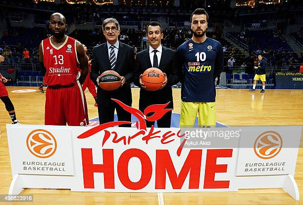 Louis Campbell #13 of Strasbourg Euroleague Basketball President CEO Jordi Bertomeu Irfan Onal Director General Of Promotion Ministry of Culture and...