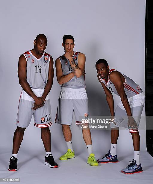 Louis Campbell, #13 of Strasbourg; Paul Lacombe, #6 and Rodrigue Baubois, #3 poses during the 2015/2016 Turkish Airlines Euroleague Basketball Media...