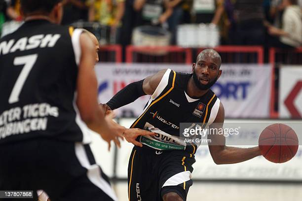 Louis Campbell of Tuebingen passes the ball during the Beko BBL match between WALTER Tigers Tuebingen and Bayern Muenchen at PaulHornHalle on January...