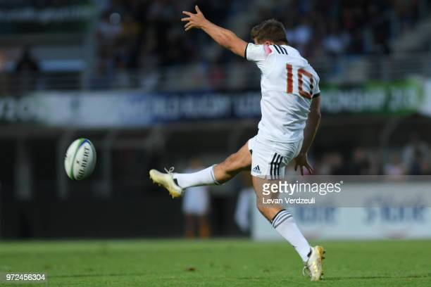 Louis Carbonel of France kicks the ball during the World Rugby U20 Championship semi final match between New Zealand and France at Stade AimeGiral on...