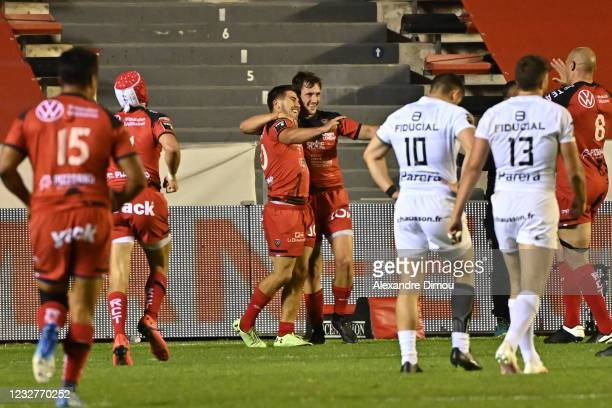 Louis CARBONEL of Toulon celebrates his try with Baptiste SERIN of Toulon during the Top 14 match between Toulon and Toulouse at Felix Mayol Stadium...