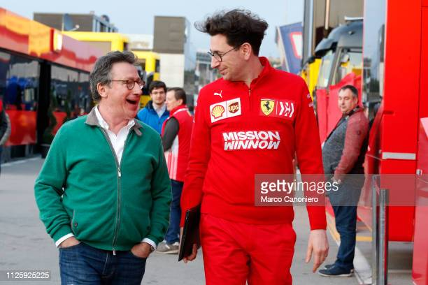 Louis Carey Camilleri Ceo of Ferrari and Mattia Binotto Team Principal of Scuderia Ferrari during day two of F1 Winter Testing.